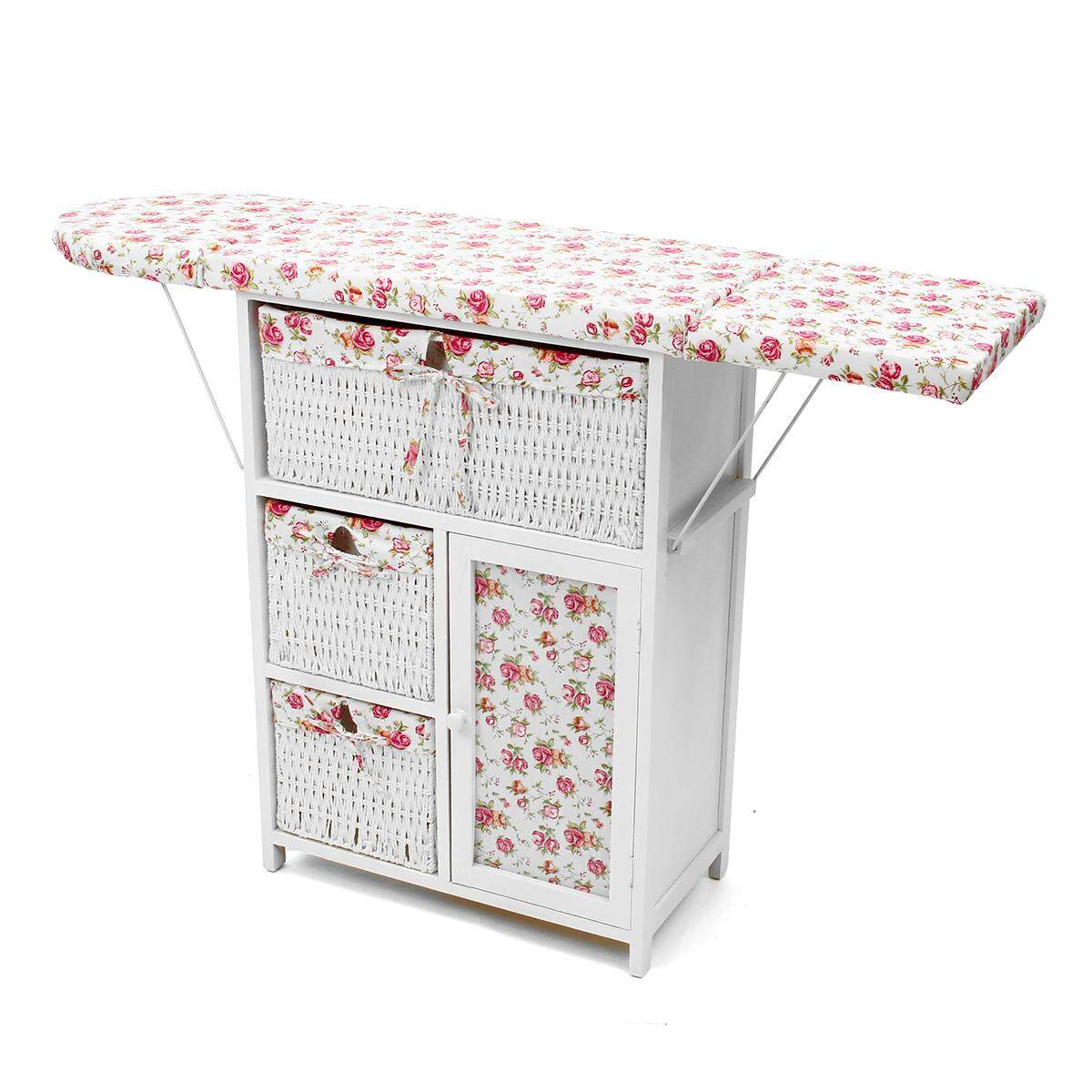 New Ironing Board Storage Unit with 3 Wicker Baskets Foldable Drawers Grey/White - intl