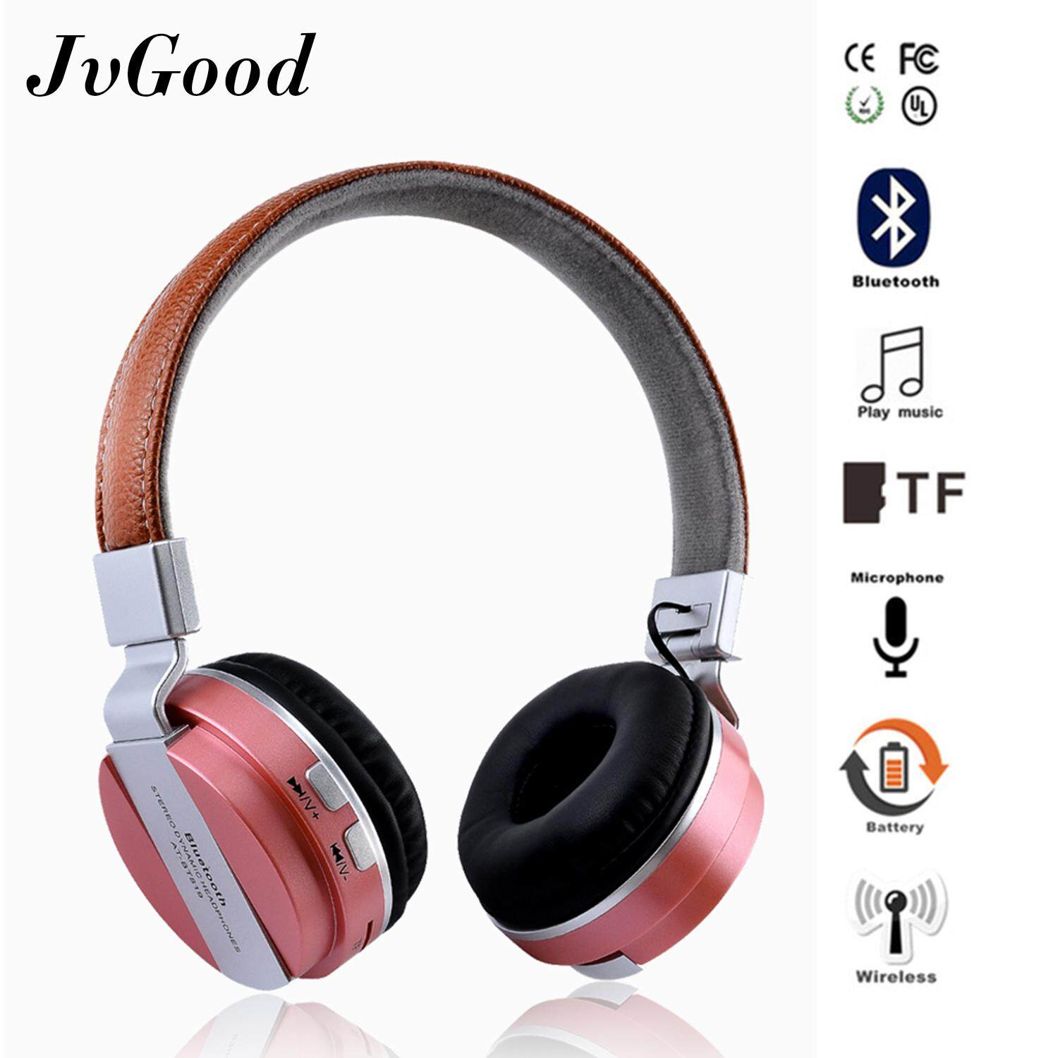 JvGood Wireless Bluetooth Headphone Foldable Leather Sport Headset With FM Radio AUX TF Card MP3