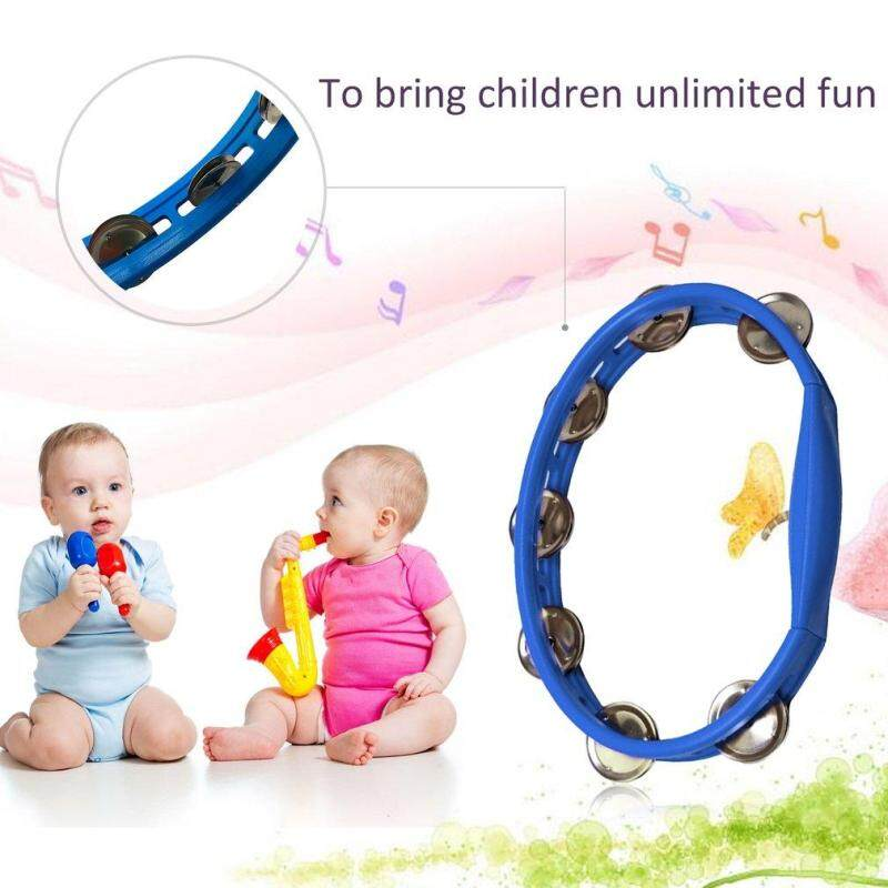 USTORE Orffworld Plastic Tambourine Hand Shaker Rattle Ring Kid Percussion Instrument