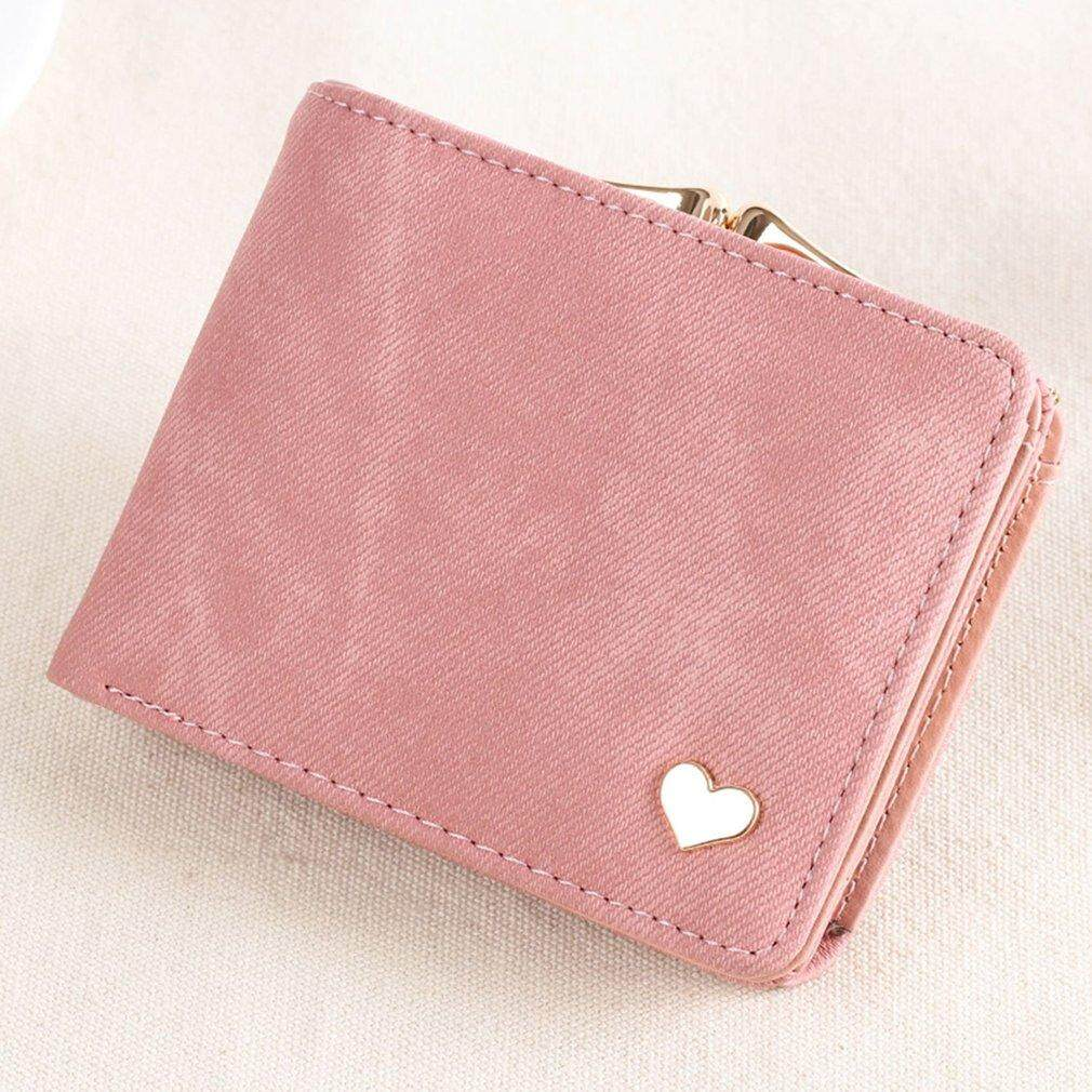 Casual wanita gadis pendek tas trendi kain flanel dompet lipat dua