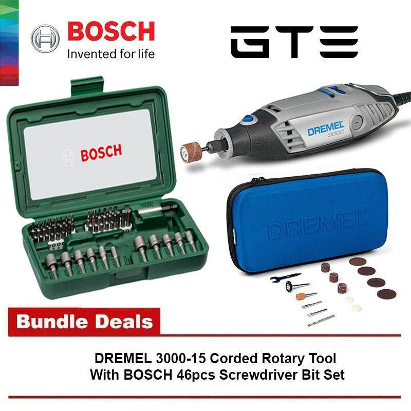 Bundle Deal - DREMEL 3000-15 Corded Rotary Tool With 15pcs Accessories (300  0JB) + BOSCH 46pcs Screwdriver Set Hand Tool Kit & Nutsetter Set (017 377)