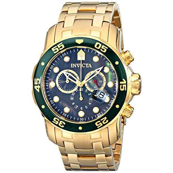 Invicta Mens Pro Diver Scuba Swiss Chronograph Black Dial 18k Gold Plated Watch 80074 ...