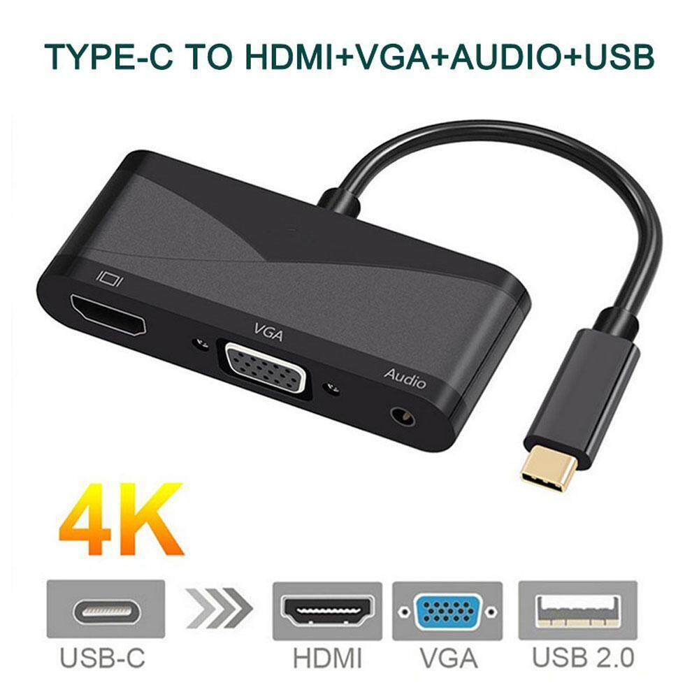 Review Niceeshop Usb C To Hdmi Vga Audio Adapter Usb 3 1 Type C To 4K Hdmi 1080P Vga And 3 55Mm Audio Converter Dual Screen Intl China