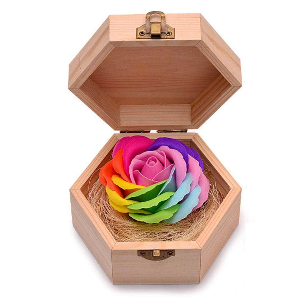 shangqing Handmade Rainbow Rose Soap Simulation Flower With Hexagon Wood Box For Birthday Present Valentines Day Gifts Home Decorations - intl