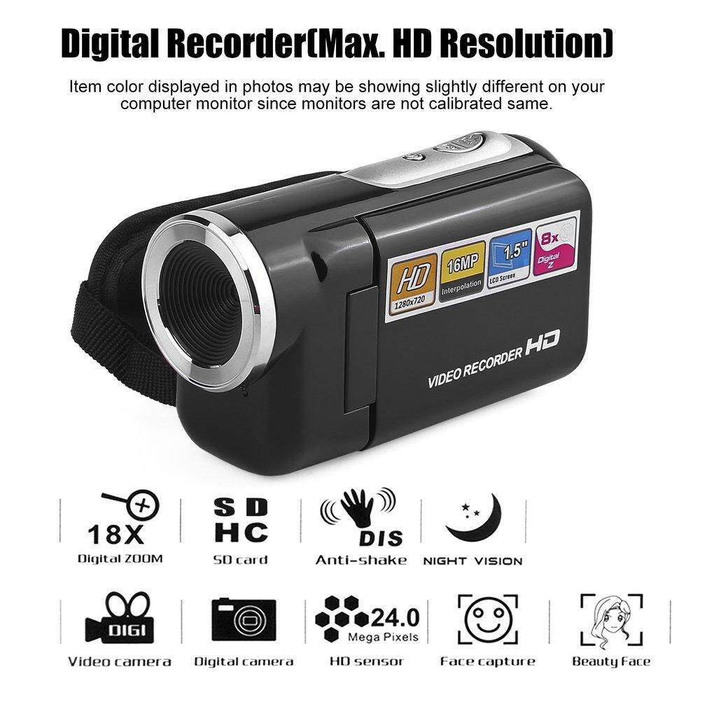 Getek DV180 Kamera Hitam 16MP Mini Kamera Video dengan 1.5