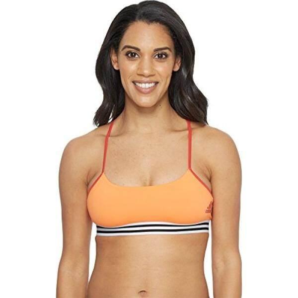 Adidas Wanita Latihan Crossback 3-Garis Hem Olahraga Beha, Hi-res Oranye/Nyata Karang, -Internasional