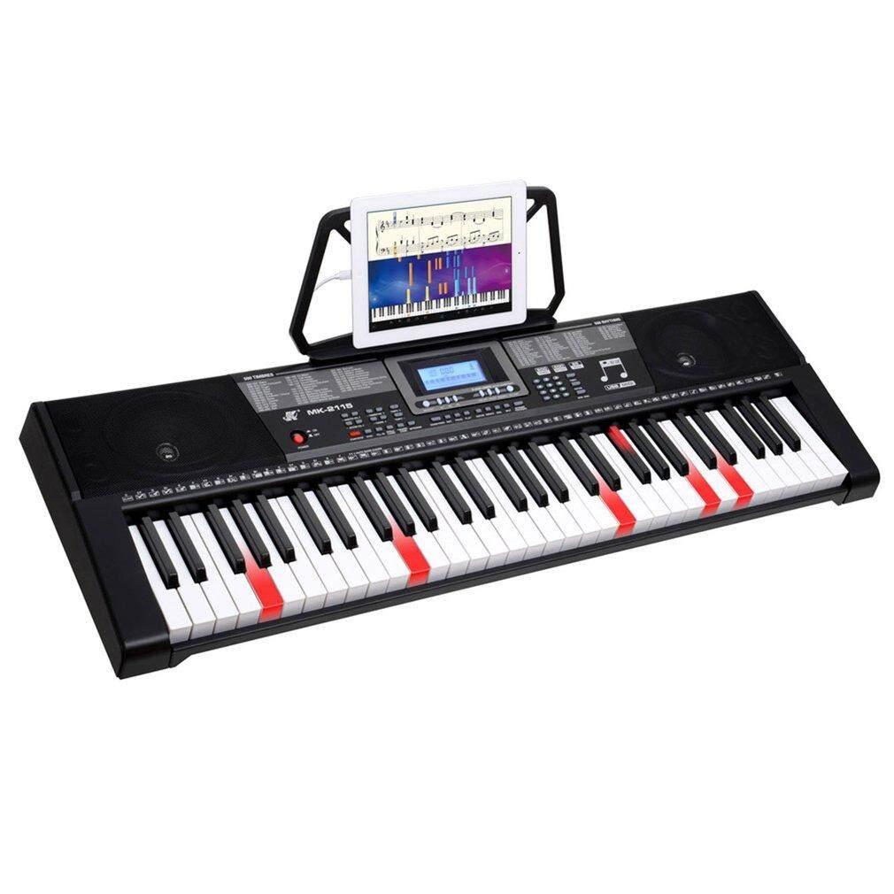 MK-2115 LCD elektronik Keyboard 61 penuh keyboard eletrik dengan kunci lampu layar hitam US pasang