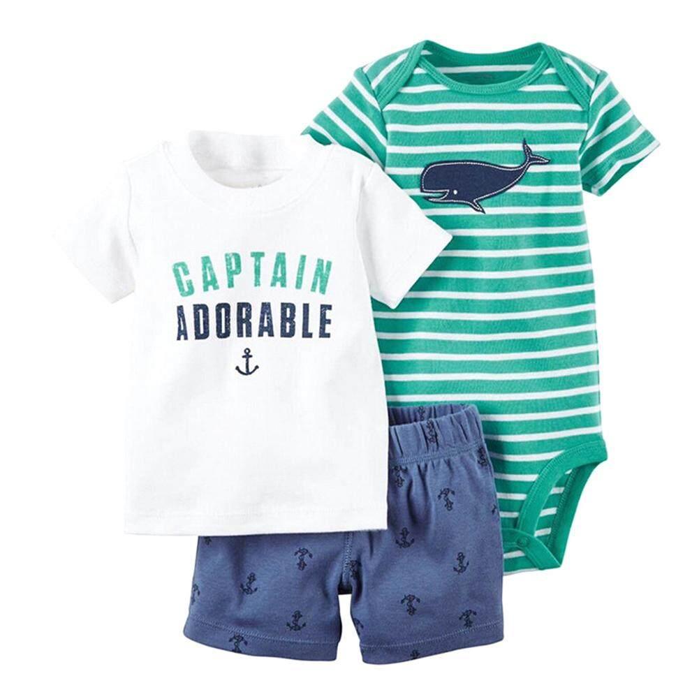 harga Kidlove 3 Pcs Bayi Anak Laki-laki Tampan Pakaian Set Pendek Lengan Baju Monyet + Kaus + Celana Pendek motif Kotak-kotak-Internasional Lazada.co.id