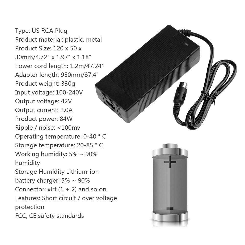 Fitur Rca Plug Charger For 36v Electric Bike Lithium42v 2a 84w Black Batok Samsung Adapter Blackus