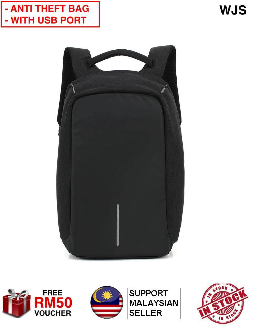 (WITH USB PORT) WJS Anti-Theft Backpack Security Backpack USB Charging Port Business Travel 15.6inch Anti Theft Laptop Bag Water Resistant Scratch Resistant Protection Bag (FREE RM50 VOUCHER)