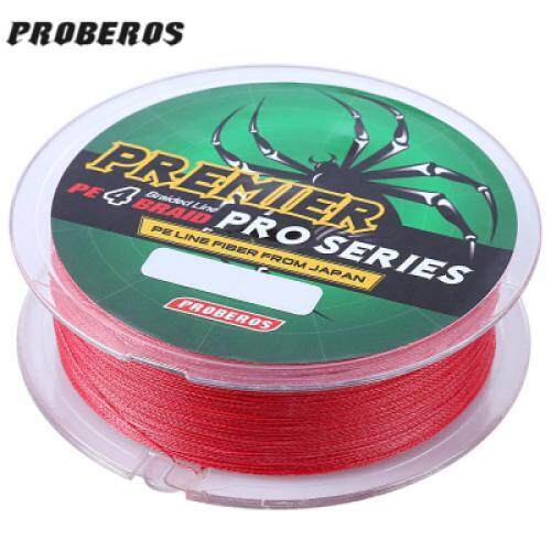 PROBEROS 100M Durable Colorful PE 4 Strands Monofilament Braided Fishing Line Angling Accessory (RED)