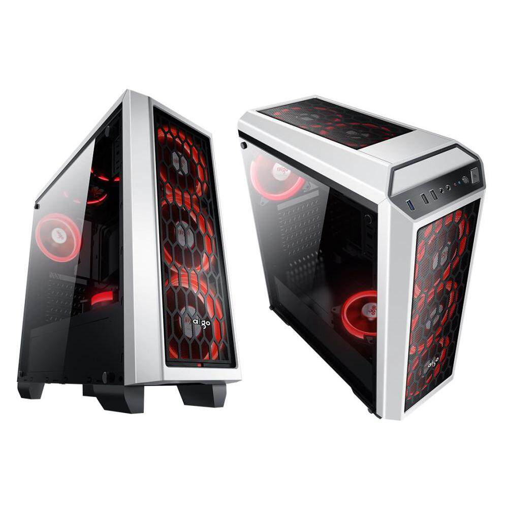 Aigo Starship II Side Window Gaming Casing (White) With 3 Units Aigo Eclipse Fan Malaysia