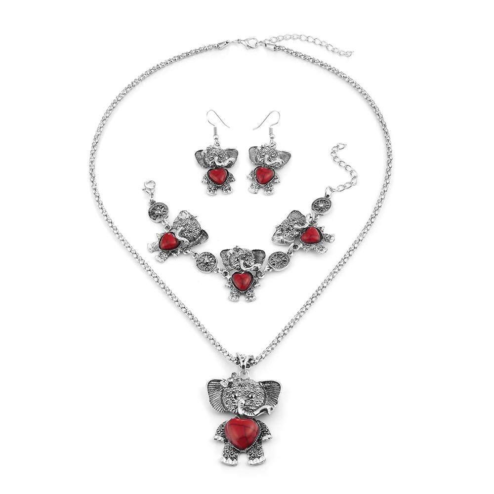 Vintage Perhiasan Batu Set Perhiasan Fashion Gajah Kalung Gelang dan Perangkat Anting-anting Pesta-