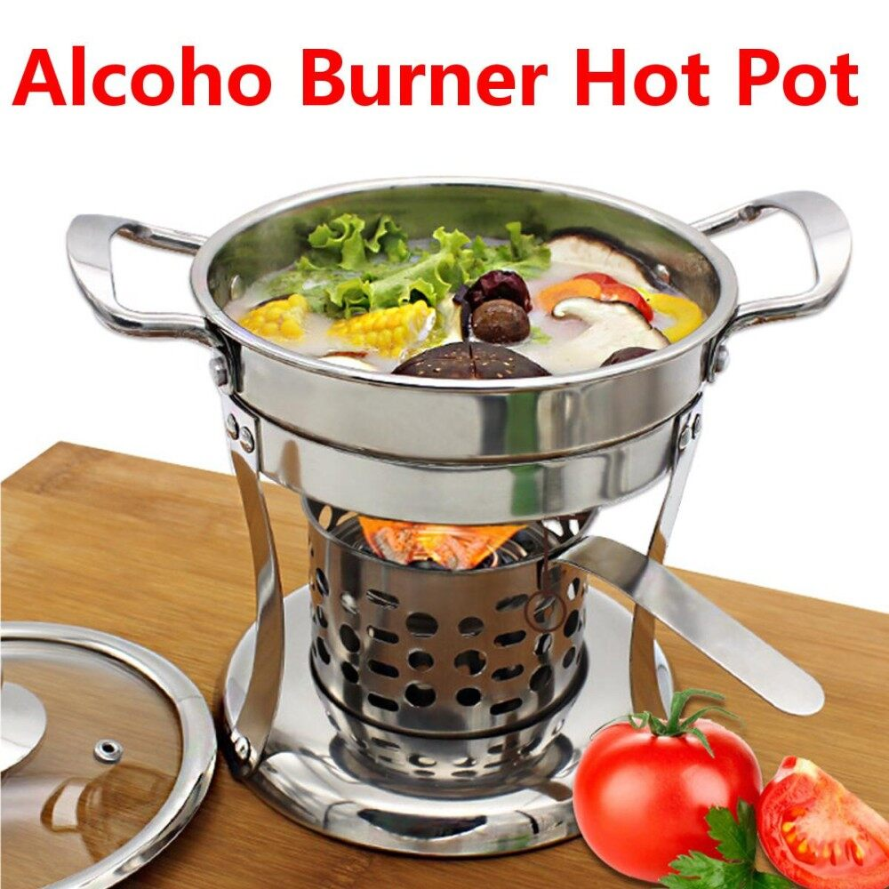 Shabu Shabu Thick Cookware Stainless Steel Hot Pot With Alcoho Burner & Lid By Glimmer.