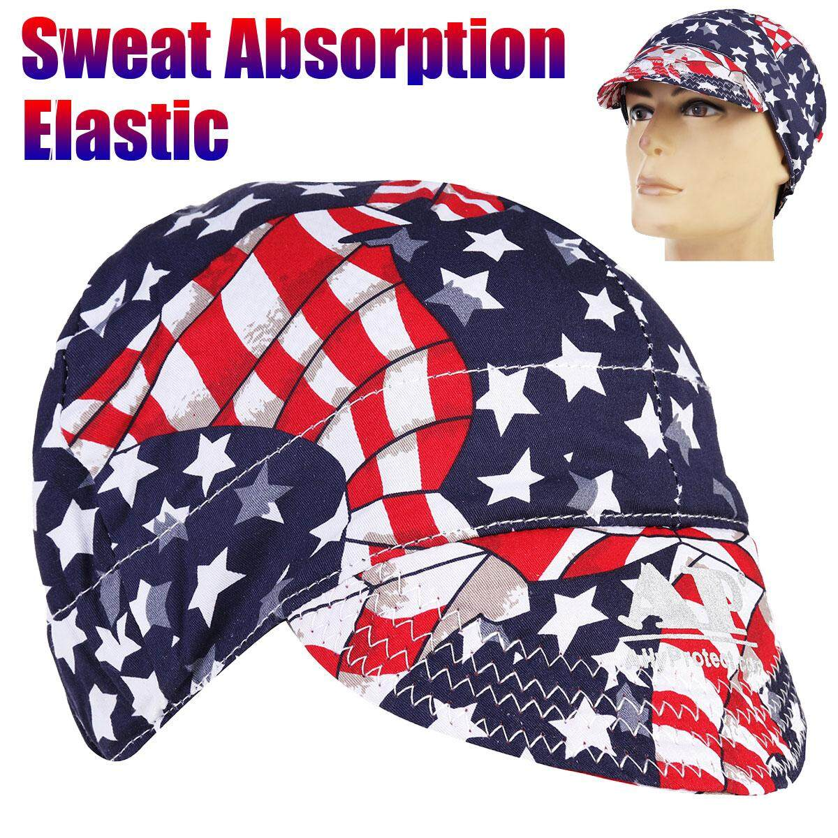 2pcs Universal Sweat Absorption Elastic Welding Welder Hat Cap Cotton Patriotic - intl