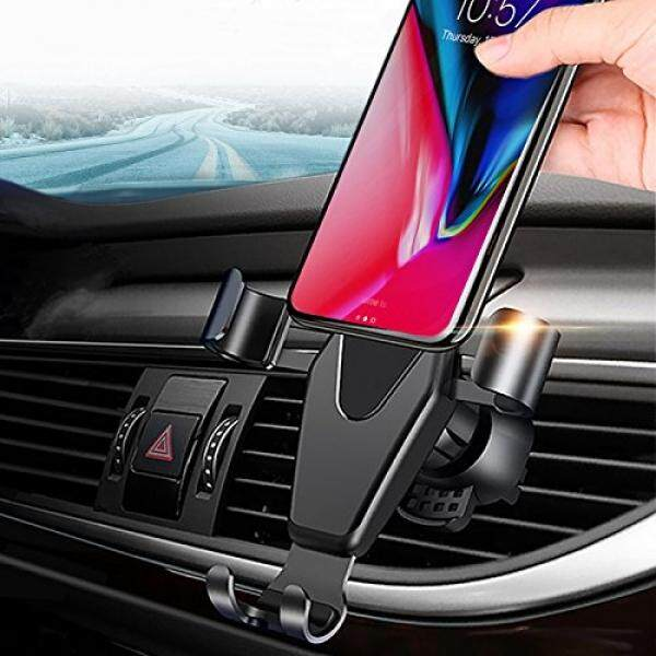 JAHMAI Car Phone Holder, Air Vent Gravity Sensing Auto Lock Metal Phone Mount Smart No Touch Design One hand Operate for iPhone X/8/7/6s/Plus/5S/Samsung S8/S7/Note and other 4-6 Inch Smartphones - intl