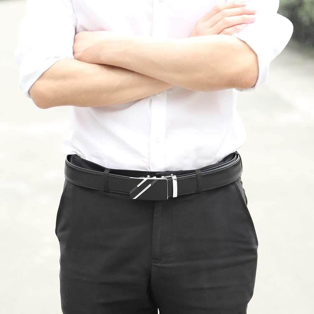 Hình ảnh Yika Business Men's Automatic Buckle Waist Genuine Cow Leather Belts Waist Belts
