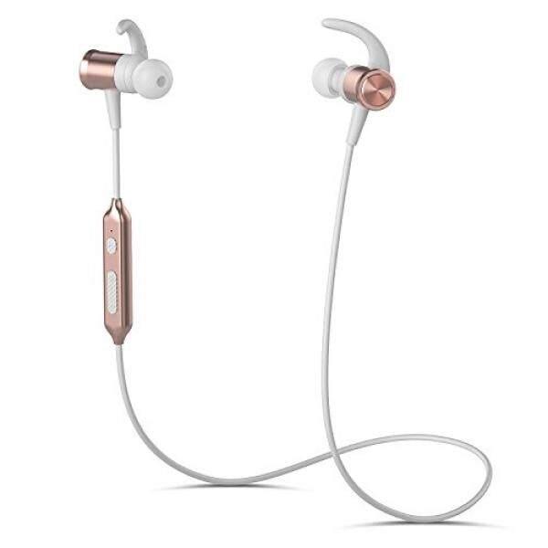 ALH Headphone Bluetooth, yuwiss Earphone Stereo Nirkabel dengan MIC Dalam Olahraga Kuping Headset V4.1 Magnetik Busa Telinga Tahan Keringat untuk Gym Lari Olahraga Iphone 6 7 S Plus Android Samsung Galaxy (Mawar Emas) -Intl