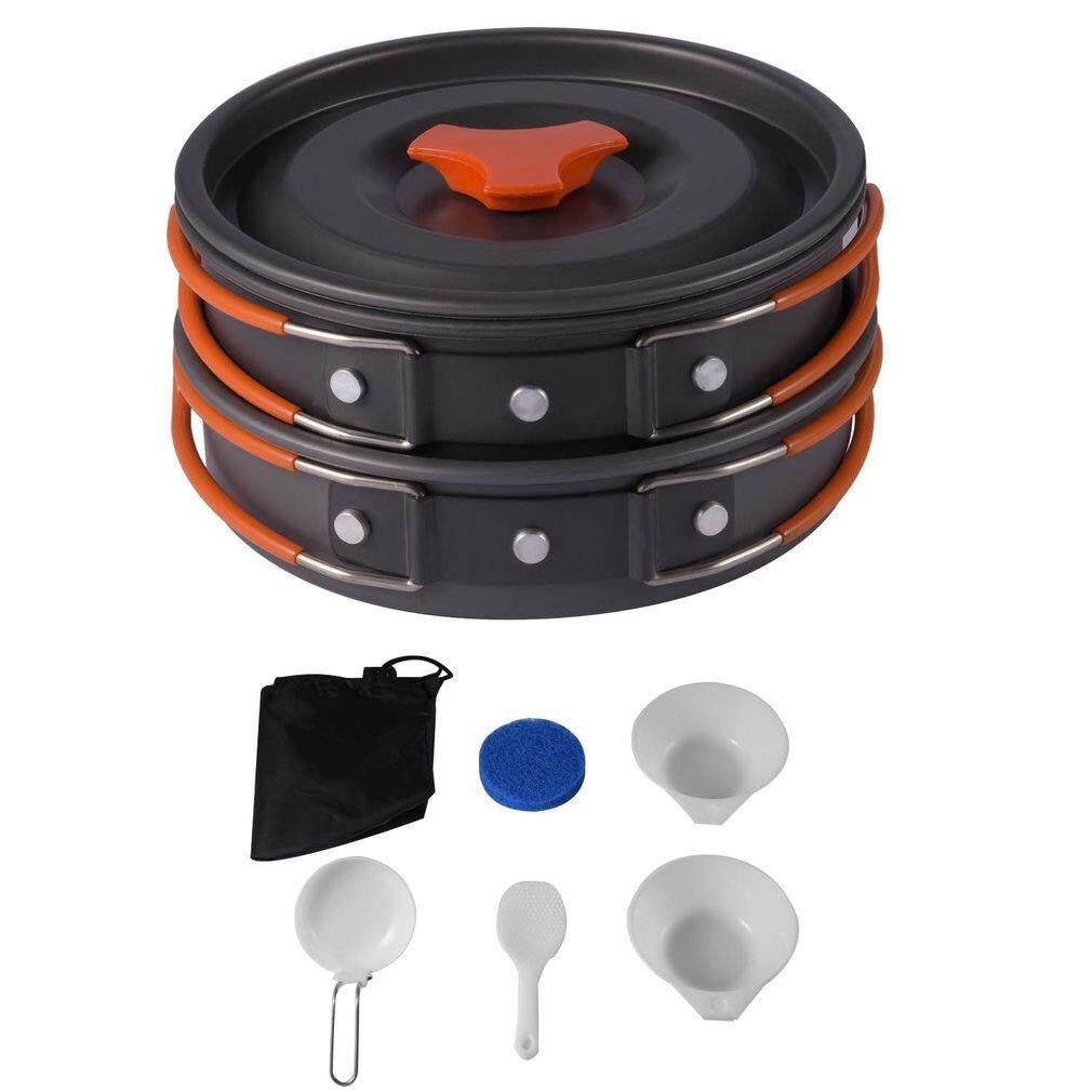 OSMAN 8pcs Outdoor Camping Cookware Backpacking Cooking Picnic Bowl Pot Pan Set