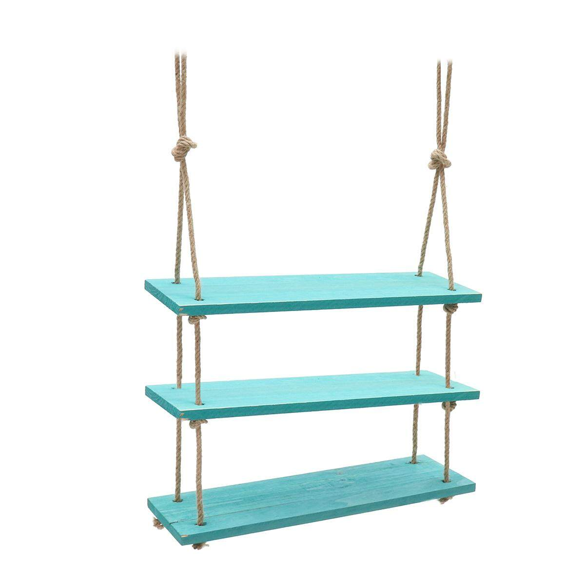 Solid Wood Wall Shelf Storage Floating Wall Shelf Rustic Vintage Rope Shelf Blue 3 Tiers - intl