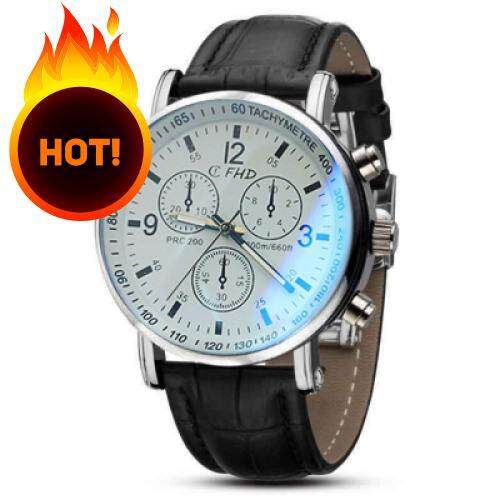 Men Faux Leather Blue Ray Glass Quartz Analog Watches Brown (BLACK WHITE)
