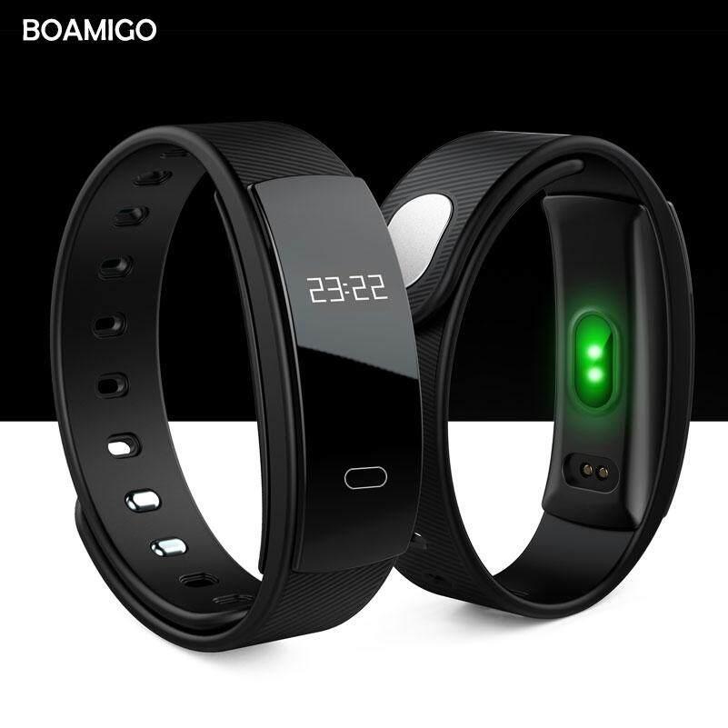 Jam Tangan Pintar Boamigo Merek Gelang Ban Pergelangan Tangan Bluetooth Denyut Jantung Pengingat Pesan Pemantauan Tidur untuk IOS Android Ponsel
