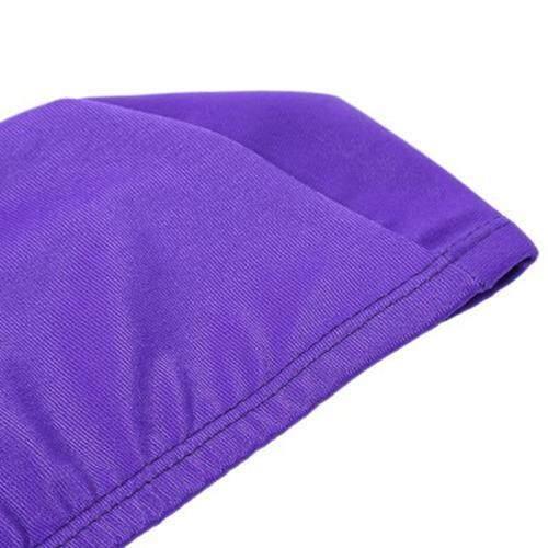 ELASTIC WATERPROOF NYLON PROTECT EARS LONG HAIR SWIMMING CAP FOR MEN WOMEN (PURPLE)
