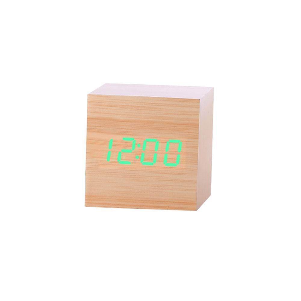 woowof Blin® Creative Modern Wooden Cube LED Digital Alarm Clock Voice Control Table Clock