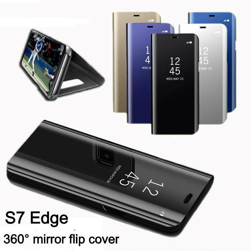 Luxury Mirror Clear View Smart Flip Case fo Galaxy S7 Edge Leather Cover .