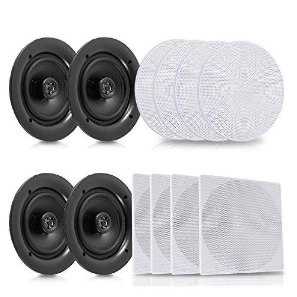 "Pyle 5.25"" 4 Bluetooth Flush Mount In-wall In-ceiling 2-Way Speaker System Quick Connections Changeable Round/Square Grill Polypropylene Cone & Tweeter Stereo Sound 4 Ch Amplifier 150 Watt (PDICBT256) - intl"