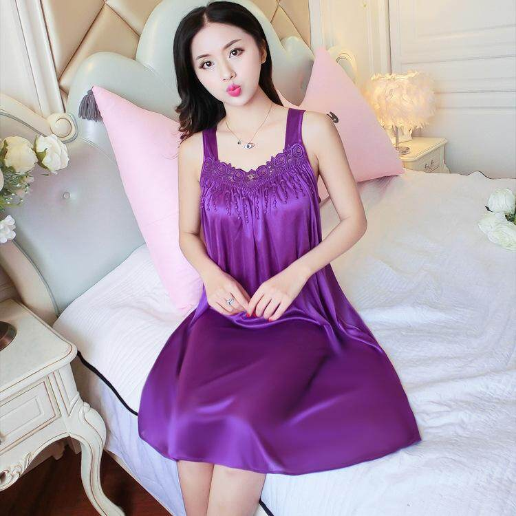 Bolster Store Ladies Women Sexy lingerie Sleepwear Sleeveless Pajamas Long Dress Silk Comfortable Wear