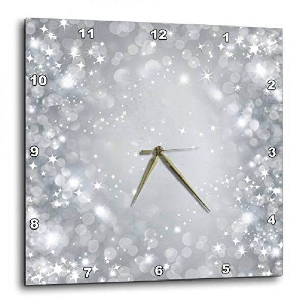 3D Rose Dpp_222291_1 3 Drose Putih dan Abu-abu Sparkle Bokeh dengan Bintang-Jam Dinding 10-Inch (1) -Intl