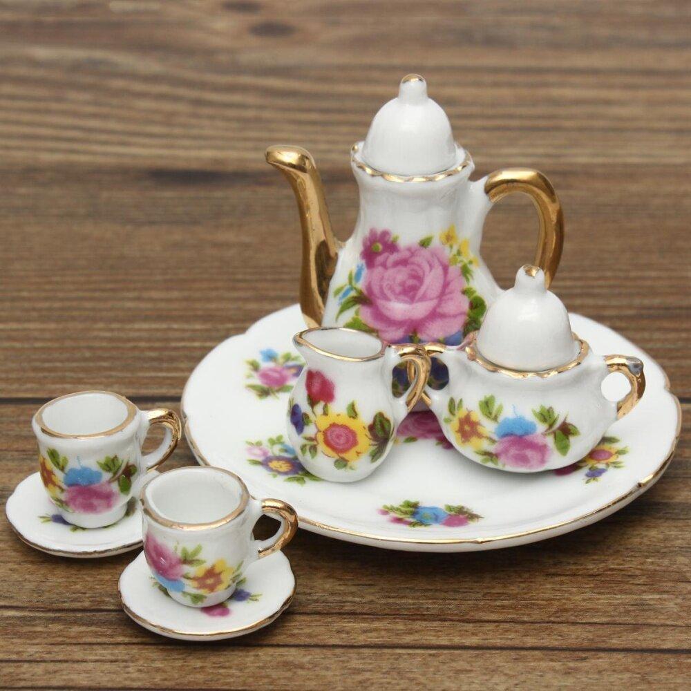 8 Pcs/set Porselen Teh Set Teko Keramik Retro Gaya Kopi Cangkir Teh Cangkir Bunga ...