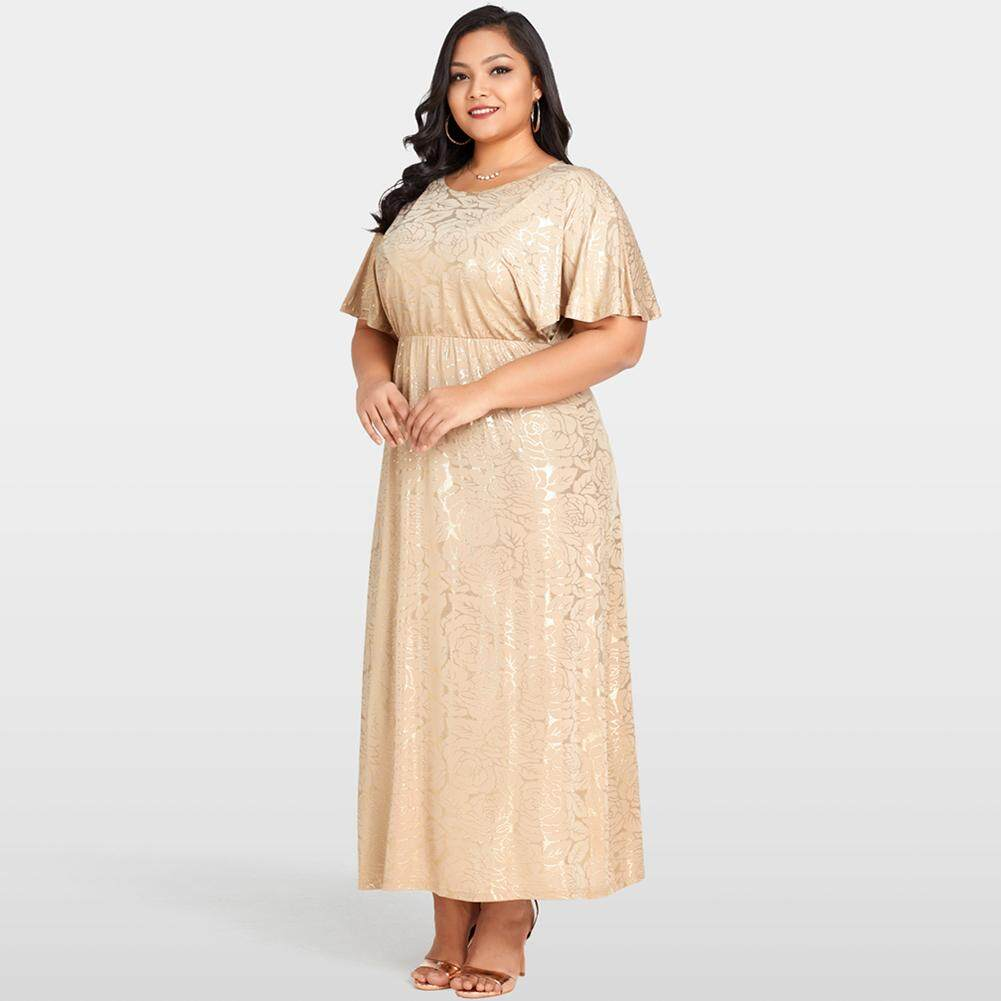 Fitur Gamis Pesta Party Dress Maxi Balloteli Outer Cape Brukat Anggi Women Plus Size Shining Floral Gold Stamping Sleeves Evening