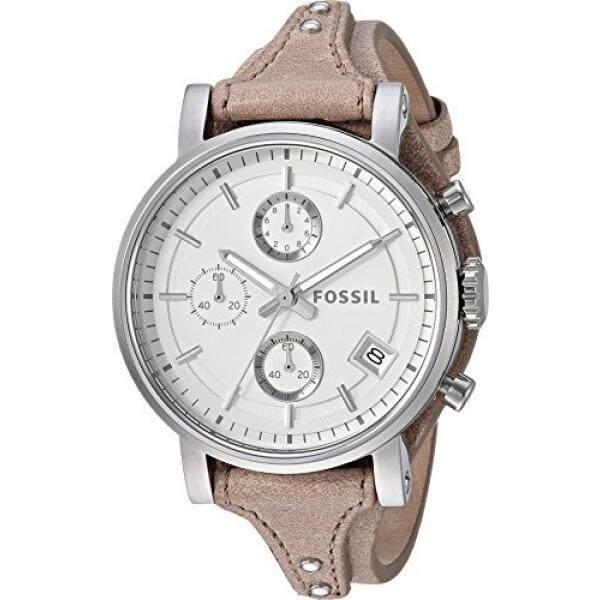 Fossil Wanita ES3625 Asli Pacar Chronograph Baja Anti Karat Watch dengan Beige Tali Kulit-Intl