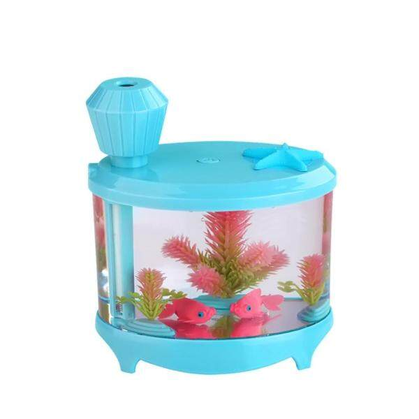 senchen 460ml USB Portable Small Fish Tank Cool Mist Aroma Humidifier Air Purifier with 7 Cloor LED Lights and Timer for Office Home Kids Bedroom(Blue) Singapore