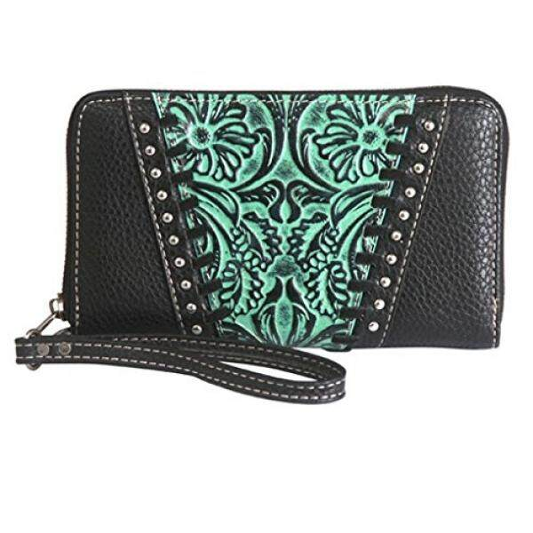 Montana West Accordion Wallet Wristlet Clutch w Key Chain (Turquoise Tooled Trinity Ranch Leather) - intl