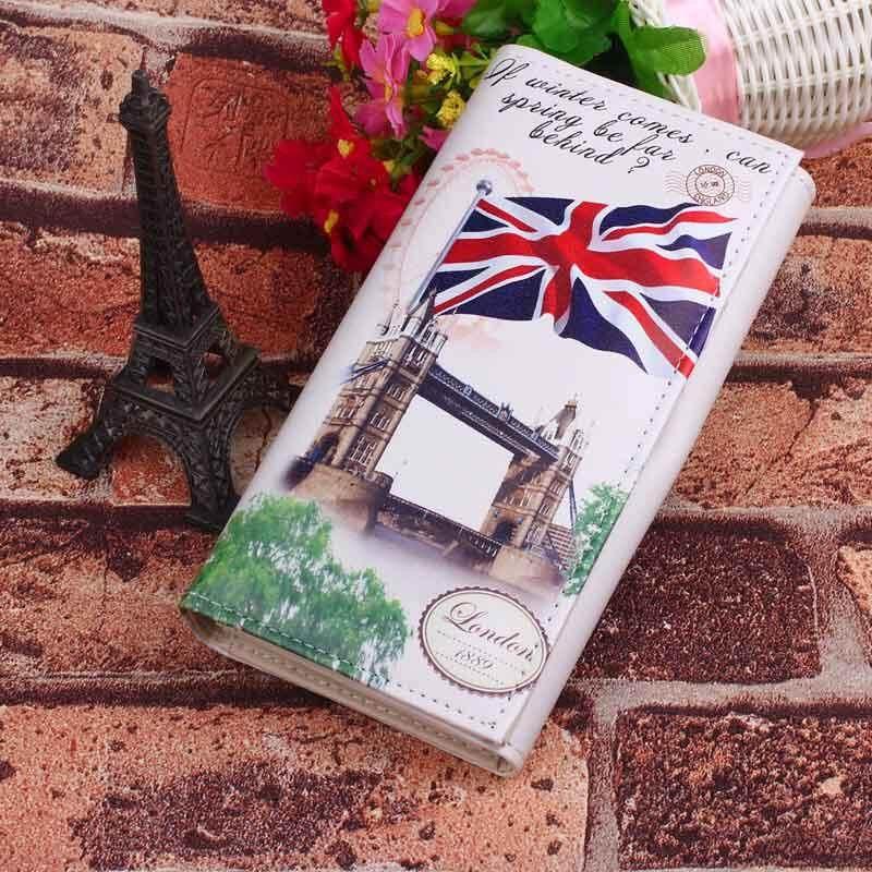 Women Lady Long Design Purse Clutch Wallet Printing Bag Card Case National Flag M Word - Big banner