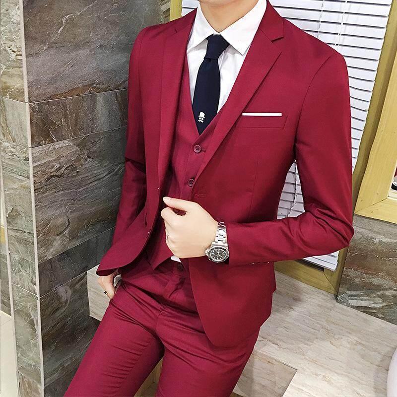 harga (Jaket + Celana + Rompi) pria Tinggi-Akhir Bisnis Ramping Sesuai Blazers/Pria Gaun Pengantin/Manusia 'S Kasual Dua Potong setelan Ukuran S-5XL Lazada.co.id