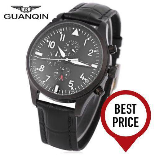 GUANQIN GJ16012 MEN AUTOMATIC MECHANICAL WATCH 30M WATER RESISTANCE WRISTWATCH (BLACK LEATHER BAND+BLACK DIAL)