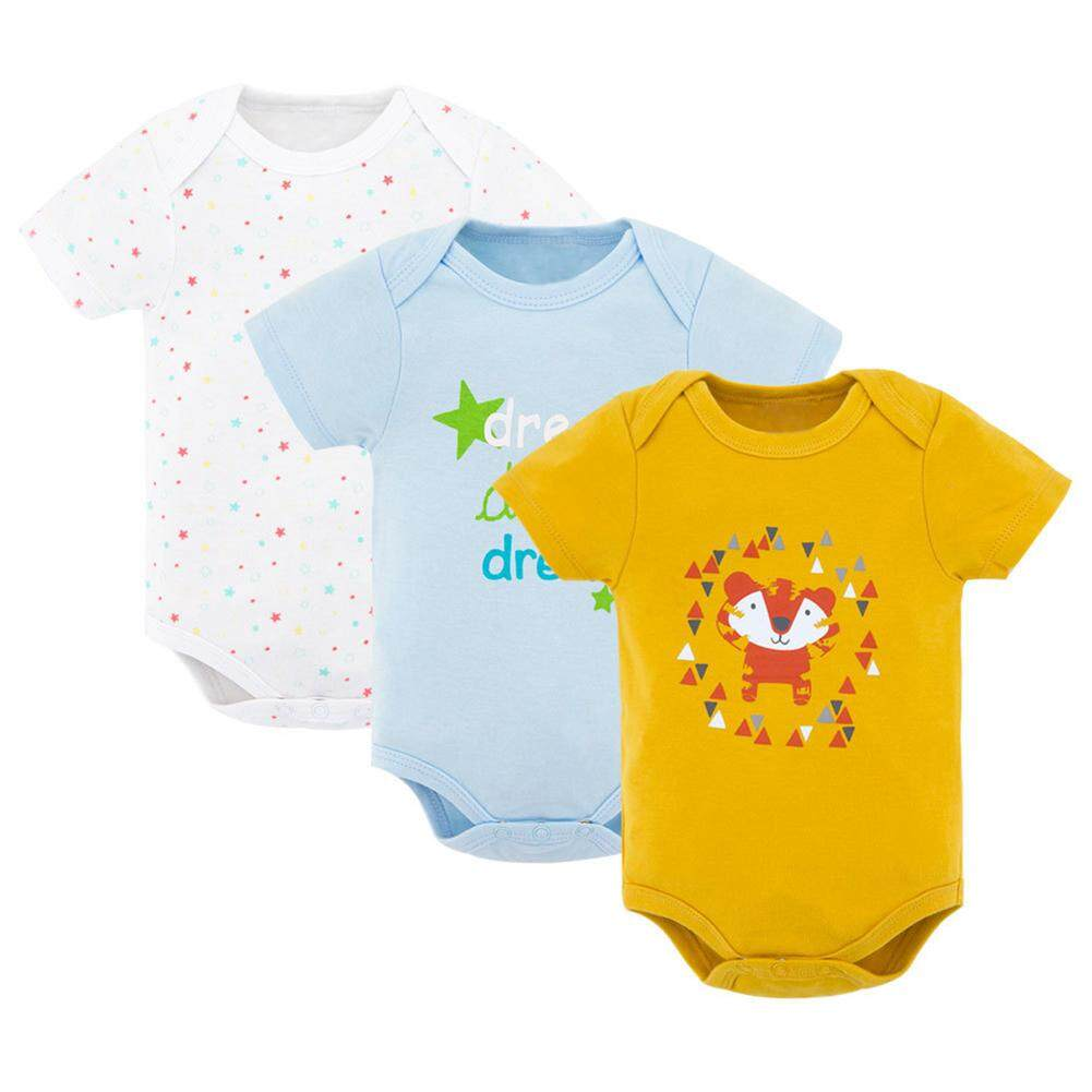 Rd 3pcs/set Baby Newborn Unisex Cute Romper Short Sleeve Cotton Vest Jumpsuit By Redcolourful.