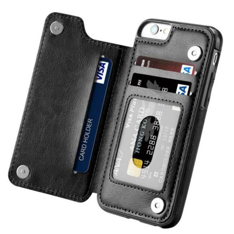 Hiqueen Multifungsi Magnetik Dompet Kulit Case Slot Kartu Tahan Guncangan Penutup Perlindungan Penuh untuk iPhone X