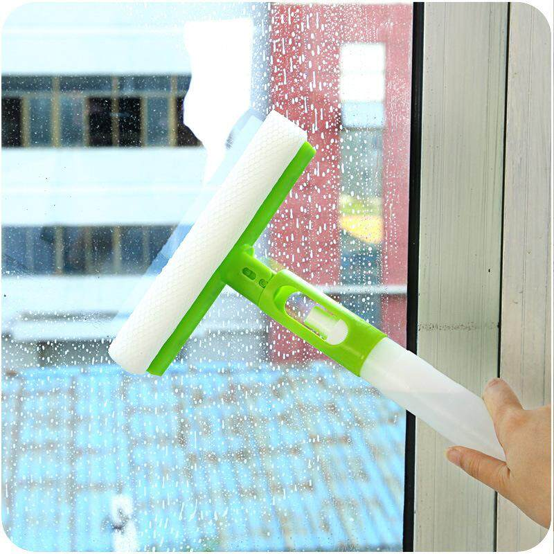 Three In One Folding Glass Cleaner With Multi Purpose Rotating Spray Glass Scraper - intl