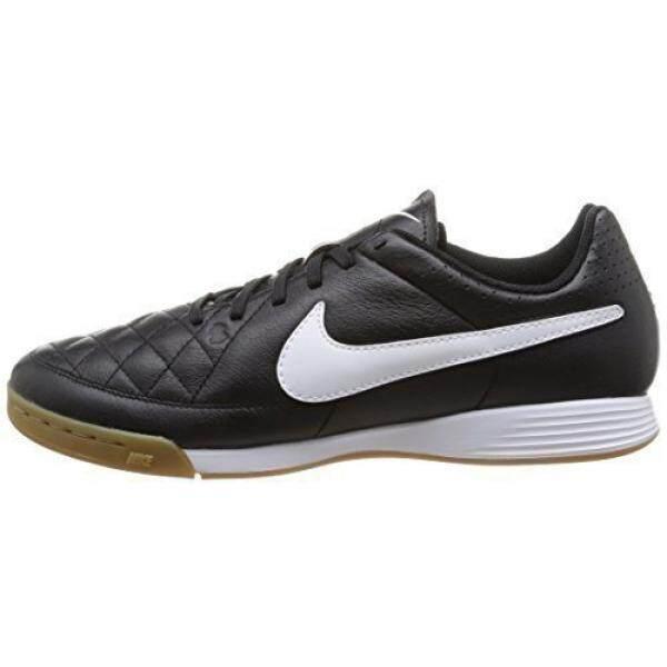 Nike Pria TIEMPO GENIO Kulit IC Hitam/Putih 7 D--Internasional