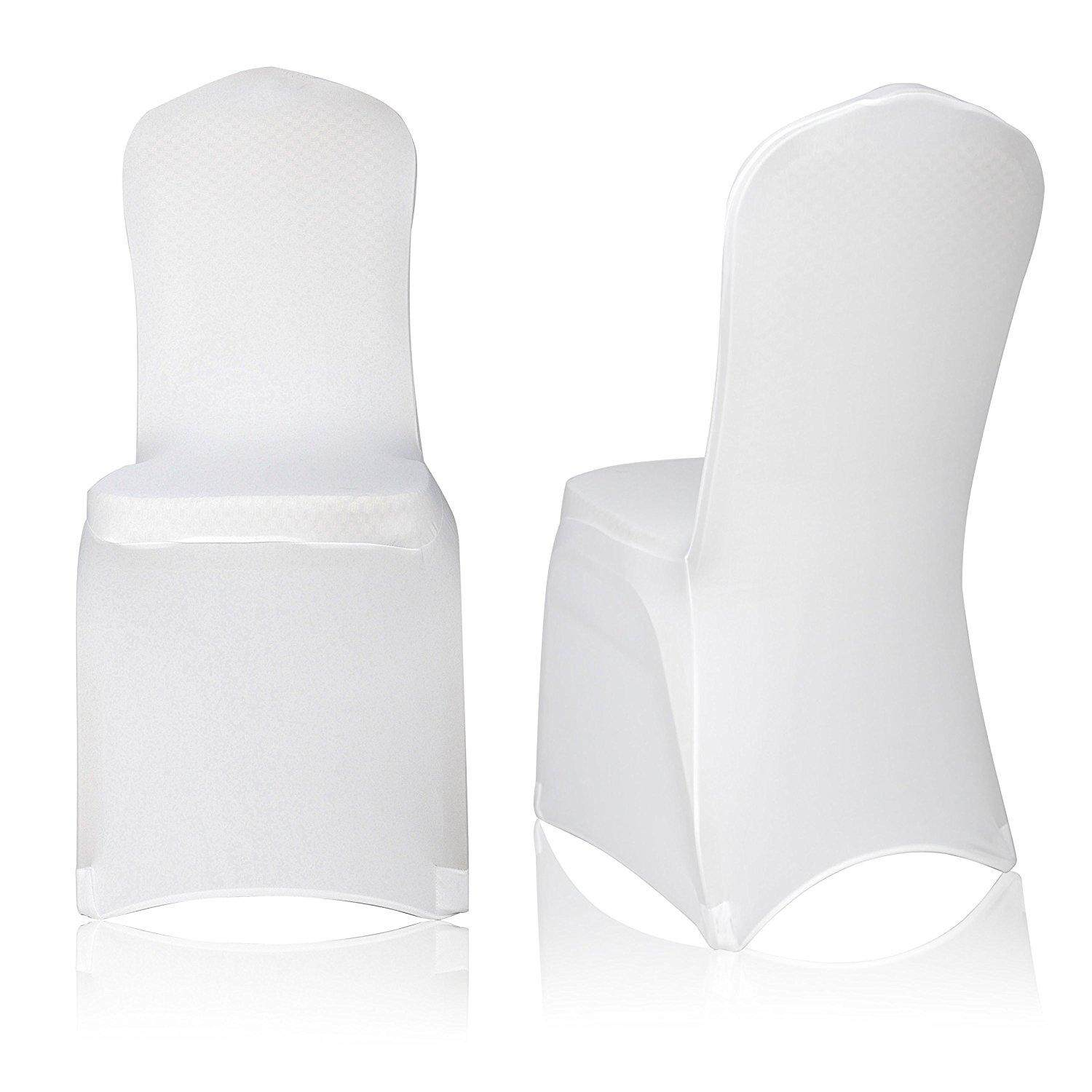 Lightning Power-Set of 5pcs Polyester Spandex Banquet Wedding Party Chair Covers Elastic chair cover Siamese wedding chair cover seat hotel banquet meeting hotel universal chair cover(White Color)