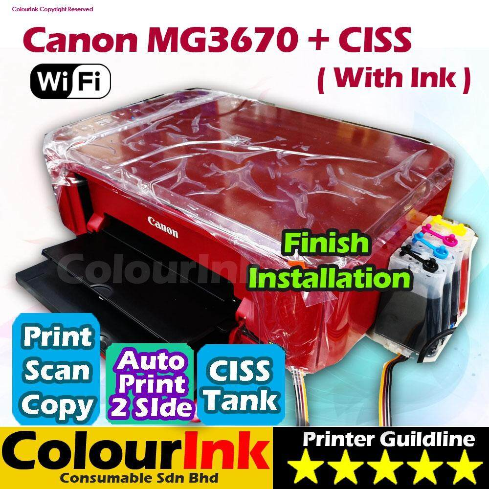 Features Canon Pixma Mg3670 Print Scan Copy Duplex Wifi With Ciss Inkjet Printer G3010 Tank