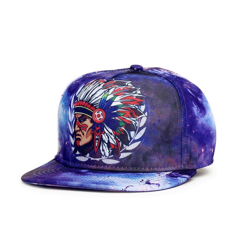 Bergaya 3D Dicetak Adjustable Topi Bisbol dengan Kepala Indian Gambar Kepribadian Unisex Hip Hop Menari Perjalanan Flat Bill Topi Bisbol Topi Snapback Warna: kepala Indian Gambar-Intl
