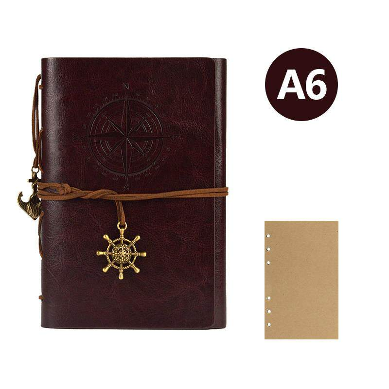 Retro Vintage Journal Diary Notebook Children Gifts Sketch Book Leather Cover Kraft Papers Notepad Pendant String