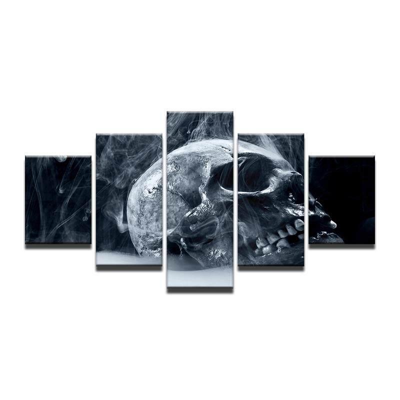 8x14inX2 8x18inX2 8x22inX1 Gelap Tengkorak Mengerikan Menakutkan Menyeramkan Menakutkan Gaib Tulang Kabut Pencabut Nyawa Dinding Rumah Ruangan Dekorasi Seni Modern Kayu Poster (Frame)-Intl