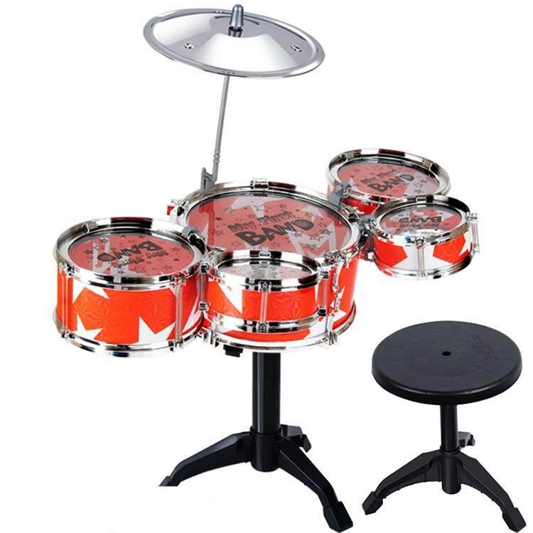 Anak Simulasi Drum Rak Mainan Drum untuk Bermain Musik Jazz dengan Kursi Set-Intl